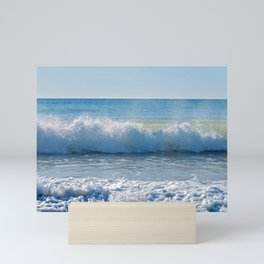 High waves and water splashes in Andalusia, Spain, mediterranean coast Mini Art Print