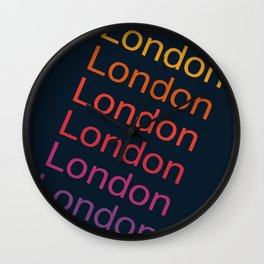 London typography cities england anglophile 70s throwback style retro vibes Wall Clock