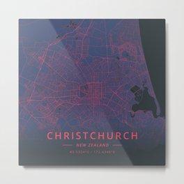 Christchurch, New Zealand - Neon Metal Print