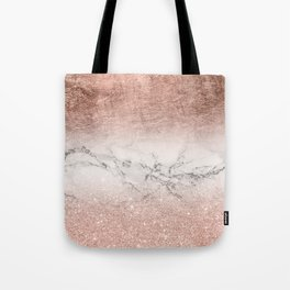 Modern faux rose gold glitter and foil ombre gradient on white marble color block Tote Bag