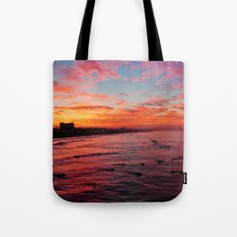 Huntington Beach Sunrise 10/30/14  Tote Bag