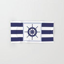 AFE Nautical Navy Helm Wheel Hand & Bath Towel