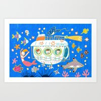 submarine Art Prints featuring Submarine by AW illustrations