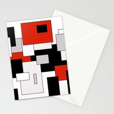 Squares - gray, red, black and white Stationery Cards