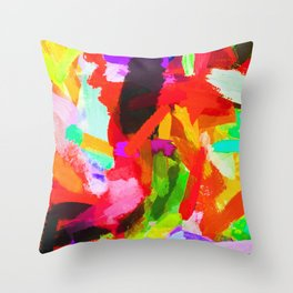 red orange blue green purple painting texture abstract background Throw Pillow