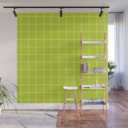 Minimal grid pattern on lime punch Wall Mural