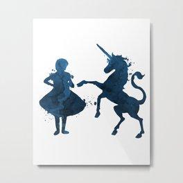 Child and unicorn Metal Print