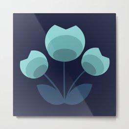 Blue Mid Century Modern Flower Navy Bkgrd Metal Print