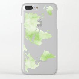 World Map Light Green Planet Clear iPhone Case