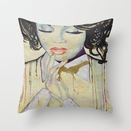Colourful dripping ink portrait Throw Pillow