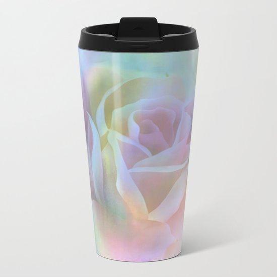 Pastel Watercolor Rose Metal Travel Mug