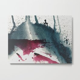 Disrupt: a minimal, abstract mixed media piece with bold strokes of magenta on blue Metal Print