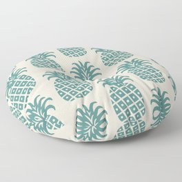 Retro Mid Century Modern Pineapple Pattern Teal and Beige Floor Pillow