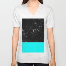 Aqua Blue Meets Black Marble #1 #decor #art #society6 Unisex V-Neck