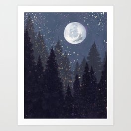 Full Moon Landscape Art Print