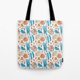Coral Reef Watercolor Pattern- Teal Tote Bag