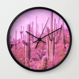 Pink Saguaro Desert Cactus Photograph Wall Clock
