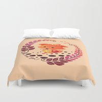 alisa burke Duvet Covers featuring Hello Miss Fox!! by haidishabrina