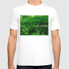 Go Green MEDIUM White Mens Fitted Tee