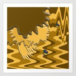 Shades of Brown Waves Art Print