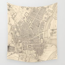 Vintage Map of Belfast Ireland (1851) Wall Tapestry