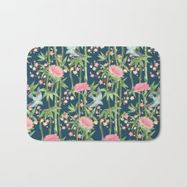 Bamboo, Birds and Blossom - dark teal Bath Mat
