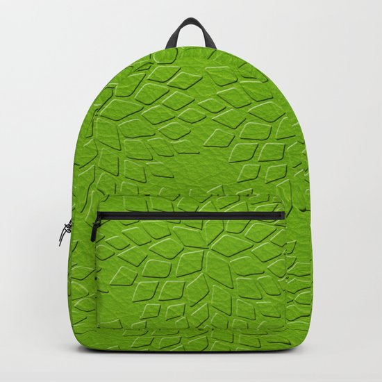 Leather Look Petal Pattern - Greenery Color Backpack