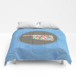Oklahoma Watercolor Flowers on Blue Comforters