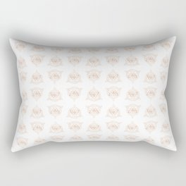 Sacred Butterfly Pattern - Rose Gold on White Rectangular Pillow
