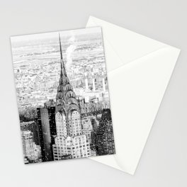 Snow - New York City - Chrysler Building Stationery Cards