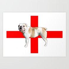 British Bulldog & St George's Flag Art Print