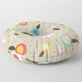 Flowers Vintage Brown Polka dots Floor Pillow