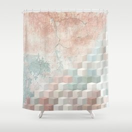 Distressed Cube Pattern - Nude, turquoise and seashell Shower Curtain
