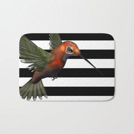Colorful Hummingbird & Horizontal Stripes Bath Mat