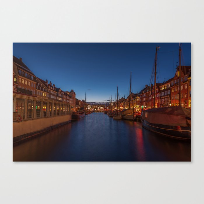 Early evening lights on the Nyhavn Canvas Print
