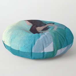 Mermaid and Dolphin Discover Seahorses Floor Pillow