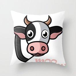Cow Funny Moo Farm Animal Strawberry Cow Manga Lover Gift Throw Pillow