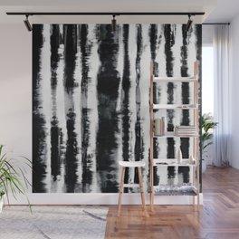 Tie-Dye Shibori Stripe BW Wall Mural