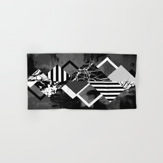 STAND OUT! In Black And White - Abstract, textured geometry! Hand & Bath Towel