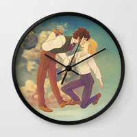 happiness Wall Clocks featuring Happiness by Marta Milczarek