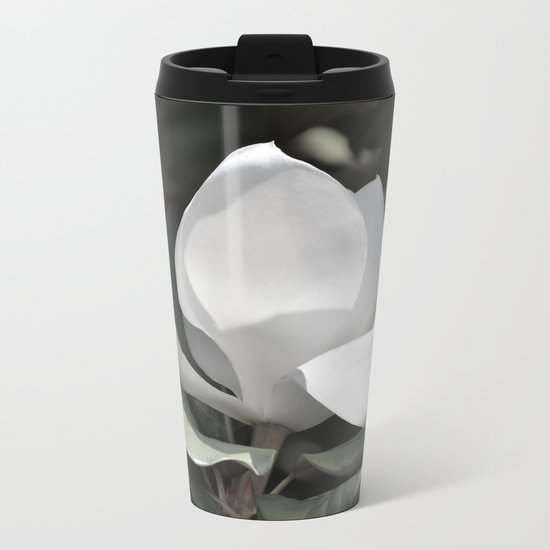 Desaturated Magnolia Flower Metal Travel Mug