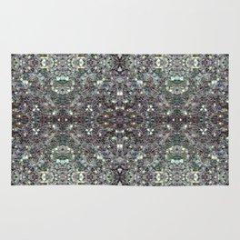 Sparkly colourful silver mosaic mandala Rug