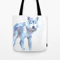 low poly Tote Bags featuring Low Poly Wolf by idrux