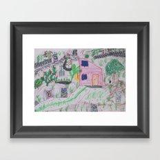 Place of Love, green Garden - Handmade from Pascal   (A7 B0239) Framed Art Print