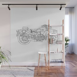 MOTO GUZZI AIRONE 250 1939 Original handmade drawing, gift for bikers Wall Mural