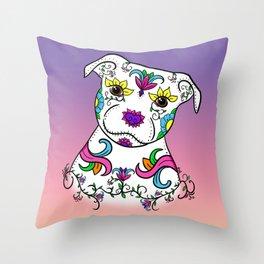 Staffordshire Bull Terrier Sugar Skull Throw Pillow