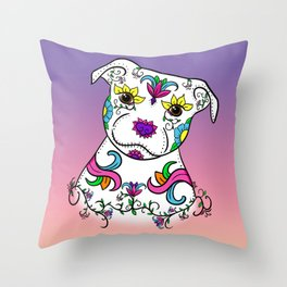 Staffordshire Bull Terrier Sugar Skull Throw Pillow