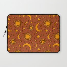 Vintage Sun and Star Print in Rust Laptop Sleeve