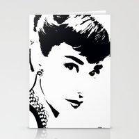 audrey hepburn Stationery Cards featuring Audrey Hepburn by Saundra Myles