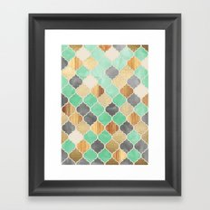 Charcoal, Mint, Wood & Gold Moroccan Pattern Framed Art Print